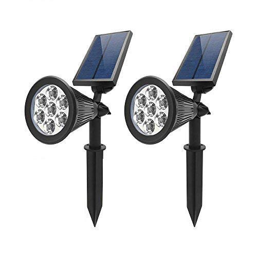 WYBAN 2-in-1 Solar Lights,Warmwhite, 7-LEDs Solar Spotlight Waterproof Auto On/Off Outdoor 180 °Adjustable Landscape Security Wall Light for Garden,Backyard,Pool Lighting (2 Pack)