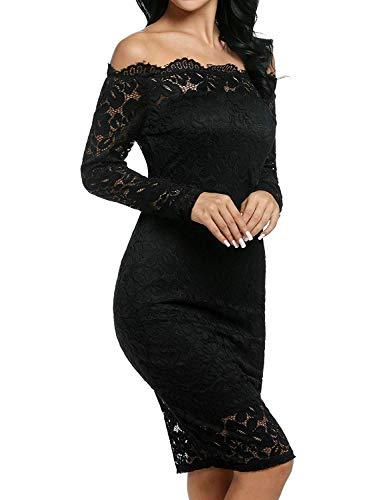Imixcity Vestido de Fiesta Encaje Manga Larga sin Hombros Lápiz Mujer Bodycon Negro