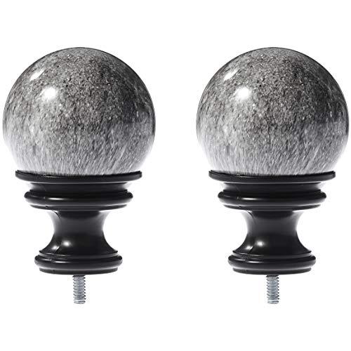 - AmazonBasics Grey Marble Ball Curtain Rod Finials, Set of Two, Black