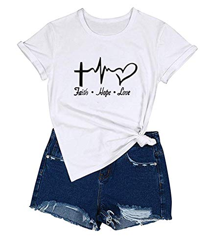 Mansy Women's Cross Faith T-Shirt Casual Short Sleeve Letters Printed Summer Graphic Tee Tops ()