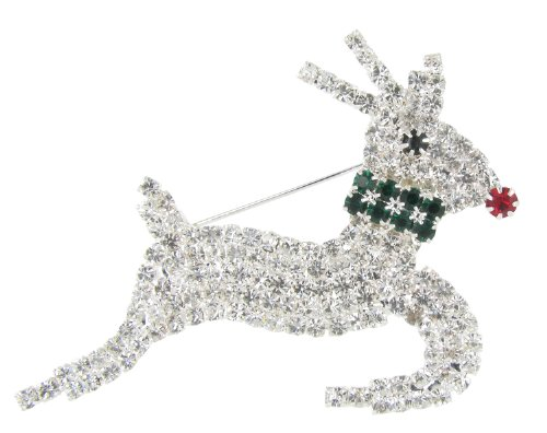 - Leaping Rudolph Reindeer Holiday Fashion Rhinestone Ugly Sweater Brooch Pin