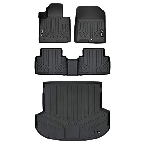 MAX LINER A0411/B0411/D0411 Custom Fit Floor Mats 2 Rows and Cargo Liner Trunk Set Black for 2019 Hyundai Santa Fe 5 Passenger - Cargo Mat Black