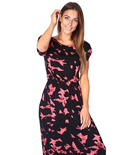 KRISP Vestido Mujer Largo Ancho Casual Tallas Grandes Punto Verano Cintura Elástica Coral