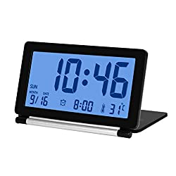 Travel Folding Silent Digital Alarm Clock with Smart Night Light Temperature Calendar LCD Display and Snooze for Home Office (Color : Black)