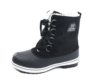 Amazon.com | Womens Black Winter Warm Snow Sneakers Boots