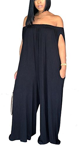 LKOUS Women's Summer Casual Off Shoulder Loose Wide Leg Long Pants Jumpsuits One Piece Romper Overalls Plus Size Black 2XL