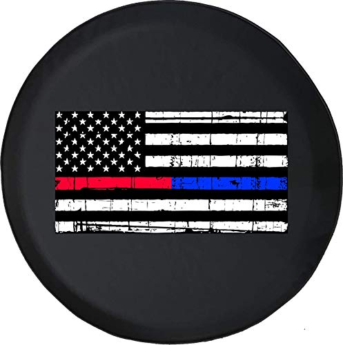 Spare Tire Cover Distressed American Flag Blue Red Line Freedom Offroad Fits Jeep JK Camper RV Size 35 Inch