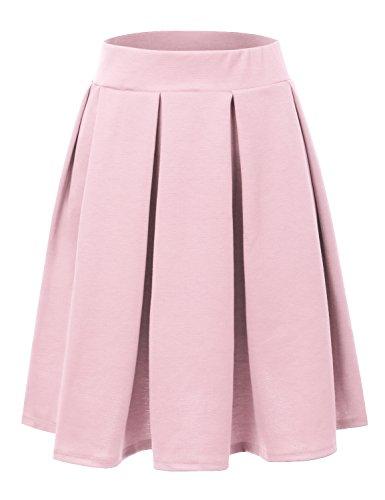 Doublju Elastic Waist Flare Pleated Skater Midi Skirt For Women With Plus Size LightPink X-Large