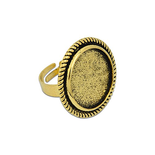 20mm Round Adjustable Ring Blank Base Findings Ring Mounting Ring Components Pack of 10 (Antique Gold) (Ring Antique Mountings)