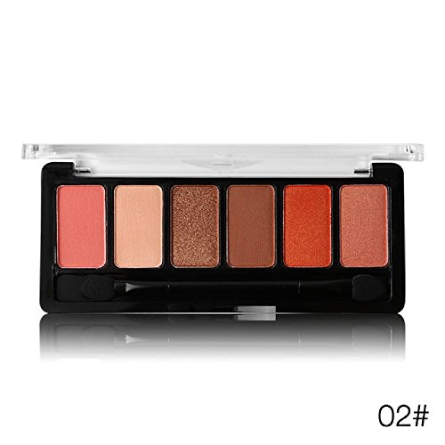 Absolute Waterproof Rose 6 Colors Shimmer Shadow Palette Eye Shadow Frosted Nude Shine Natural Silk Pigments (02#)