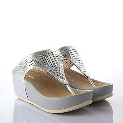Shoexpress Slipper For Women, Silver