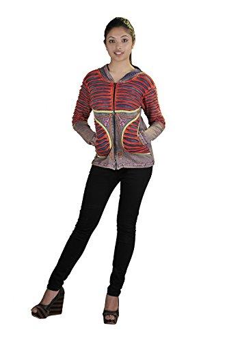 De la Mujer Multicolor piedra lavada de algodón Cardigan con adjuntar la capilla Razor Cut & Bordado Gris