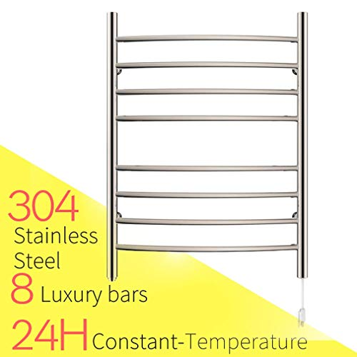 HEATGENE Towel Warmer 8 Bar Plug-in Curved Bath Towel Heater Mirror Polish
