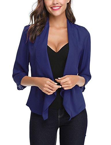Châle Bleu Noir De En Gilet Elégant Cardigan 4 Chic Mousseline Soiree Blazer Foncé 3 Veste Blanc Basic Manches Boléro Court Femme xqfwHzqT7