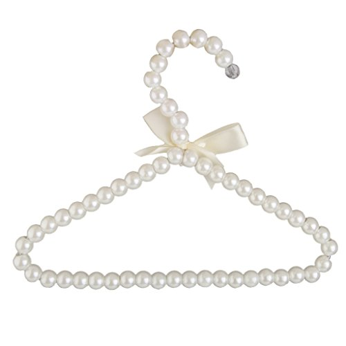 White Faux Pearl Bow Clothes Hangers Hook for Children Kids Bowknot -