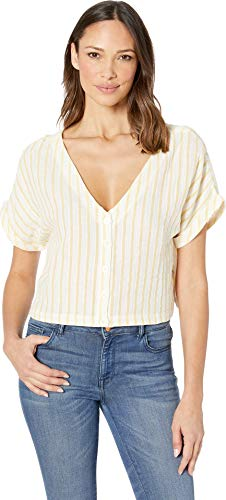 Plush Women's Striped Linen Reversible Cropped Button Down Shirt Marigold Yellow/White Stripe Small
