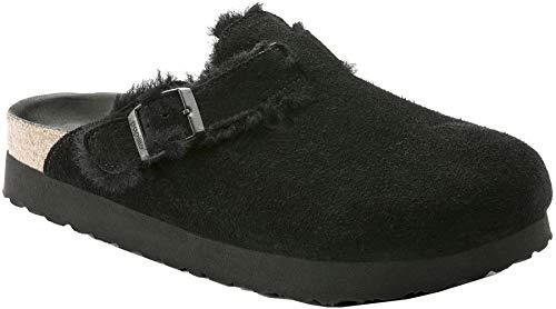 Birkenstock Boston Platform Black Shearling Suede Sandal 38