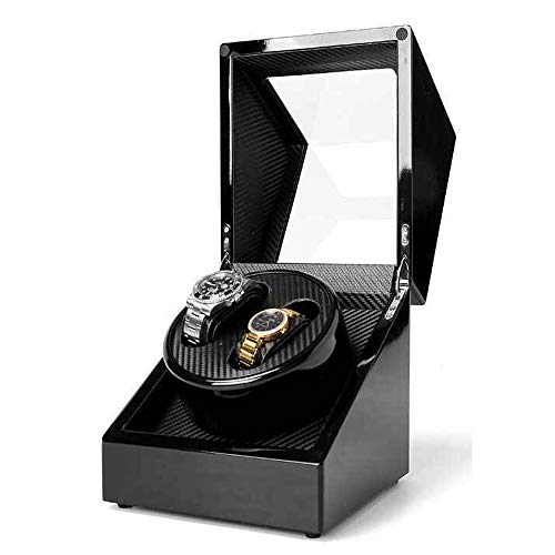 (Automatic Double Watch Winder Display Box with Japanese Motor for Rolex Watch, Soft Flexible Watch Pillows, Fit Lady and Man Automatic Watch, AC or DC Powered (Black))