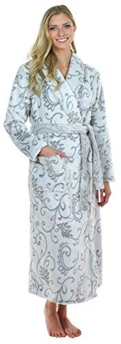 Sleepyheads Women's 2 Tone Plush Fleece Long Robe, Bathrobe Grey Floral (SHP1400-4057-SML)
