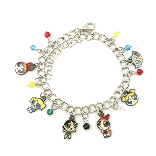 Athena Brand The Powerpuff Girls Charm Bracelet Quality Cosplay Jewelry Cartoon TV Series with Gift Box ()