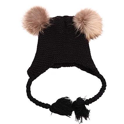 Hshi Lovely Invierno cálido niños Baggy Ganchillo Lana Punto esquí Gorro  Calavera Slouchy Twist Hat Negro fd66a37c613