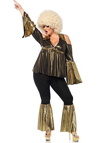 [Leg Avenue Women's Plus Size Disco Diva Costume, Black/Gold, 1X-2X] (Plus Size Costumes)