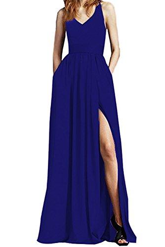 Dreagel Élégantes Robes De Bal Fendus Haute Longue Robe De Soirée En Mousseline De Soie Avec Poche Bleu Royal