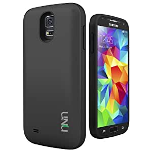 Galaxy S5 Battery Case - UNU Unity 2800mAh Portable Charger Rechargeable External Protective Battery Pack Power Juice Bank Cases for Samsung Galaxy S5 - Black / Black