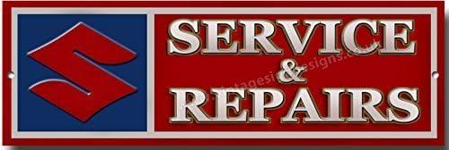 Vintage Sign Designs Suzuki Service und Reparaturen Qualit/ät Metallschild