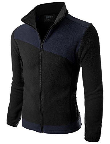 Doublju Mens Two asymmeteric Zipper Comfort BLACKNAVY Fleece Jacket,S