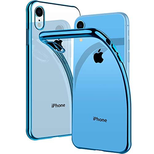 iPhone XR Case, DIACLARA Clear Slim Fit Soft TPU Cover with Electroplated Bumper Ultra Thin Case Compatible with Apple iPhone XR 6.1 Inch 2018,Blue Edge ()