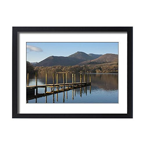 Framed 24x18 Print of Causey Pike from the boat landing, Derwentwater, Keswick, Lake (Keswick Boat)