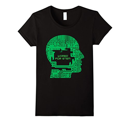 Womens Wired for STEM Computer Brain Circuit Board T-Shirt Large Black (Wired Stems)