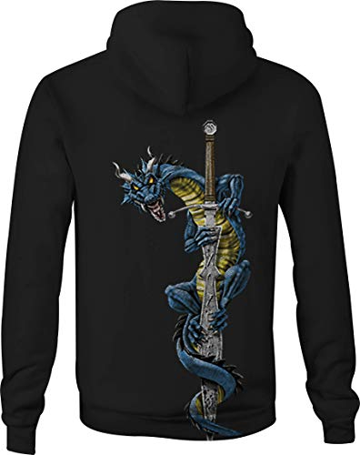 Zip Up Hoodie Dragon Knight Sword Hooded Sweatshirt for Men - 4XL Black