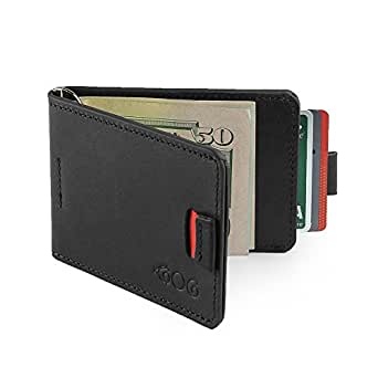 Mens Ultra Slim Bifold Leather Wallet Pull Tab With Money