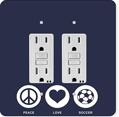 Rikki Knight 42769 Gfidouble Peace Love Soccer Blue Color Design Light Switch Plate by Rikki Knight