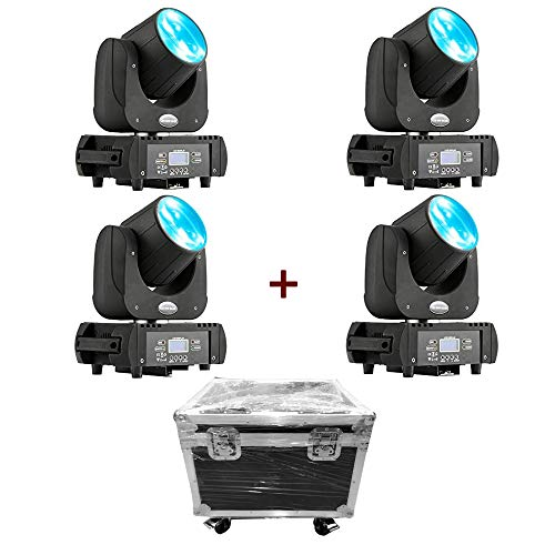 MFL. DJ Moving Head Wash Led Light Moving Head Light Led Beam RGBW Yellow Purple DMX 11 Channels B60 Stage Lighting with Road Case for DJ Church Wedding Party Live Concert 4pcs 60W ()