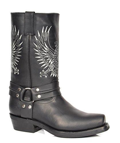 House of Leather Leder Cowboy Stiefel überstreifen Quadrat Zehe Wadenlänge Western Absatz 08BE-Hi Schwarz
