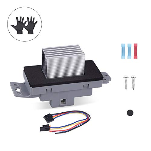 (WMPHE HVAC AC Blower Motor Resistor kit With harness and instructions Compatible for Buick Rainier Cadillac Chevrolet GMC#15-81773, 89018778, 89019351 with A Pair of Gloves)