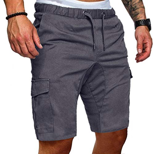 MODOQO Men's Shorts, Casual Slim Fit Solid Sports Gym Fitness Pants with Pocket(Gray,CN-L/US-S)