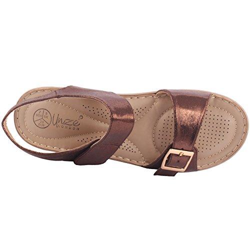 Unze Zapatos cómodos de las sandalias del verano de las mujeres calientes de las nuevas señoras Calie 'Tamaño 3-8 Marrón