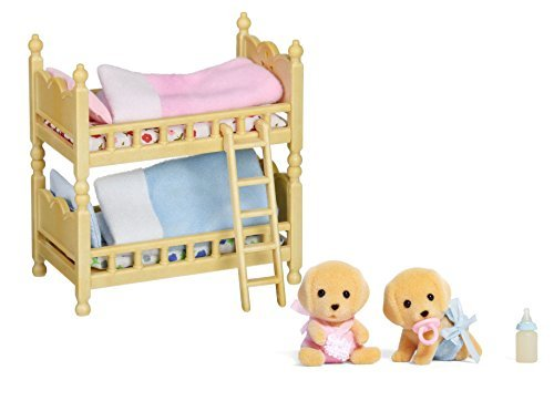 Maven Gifts: Calico Critters of Cloverleaf Corners Bundle - Yellow Labrador Twins Set with Bunk Beds Set - Build Skills with Imaginative Play