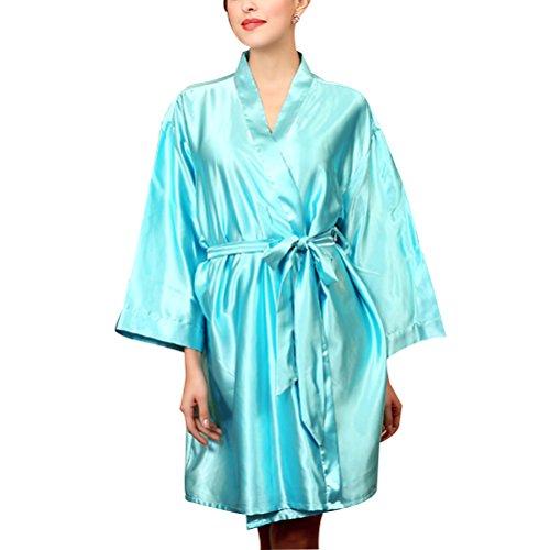 Zhhlaixing Fashion Womens Satin Dressing Gown Robe Kimono Nightwear Sleepwear Bathrobe Lake Blue