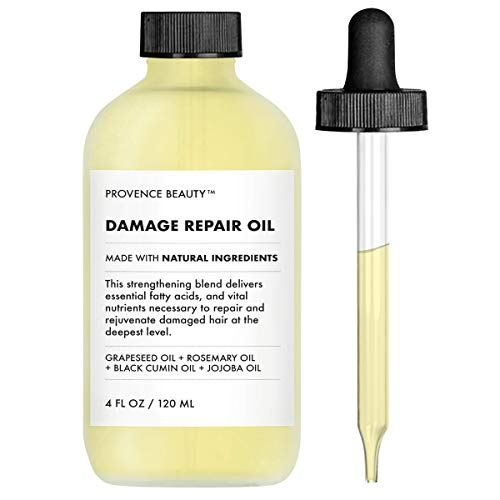 (Provence Beauty | Repairing Hair Treatment Oil - Grapeseed Oil + Rosemary Oil + Black Cumin Oil + Jojoba Oil | For Dry or Damaged Hair, Restores Shine & Volume, Stimulates Hair Growth |4 FL OZ)