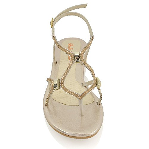 ESSEX GLAM Womens Flat Slingback Sandals Diamante Synthetic Cut Out Open Toe Sandals Rose Gold KX8BvcfkLz