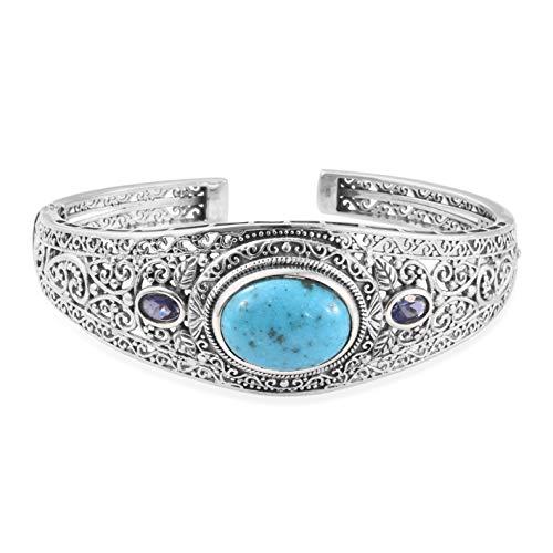 Boho Handmade Persian Turquoise Catalina Iolite Silver Cuff Bangle Bracelet 8