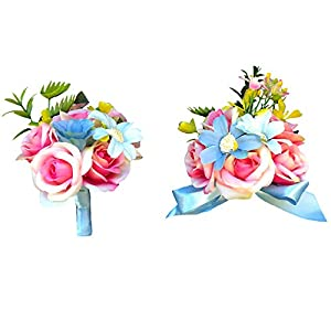 Abbie Home Wedding Wrist Corsage Brooch Boutonniere Set Party Prom Hand Flower Décor-Pink&Blue 1