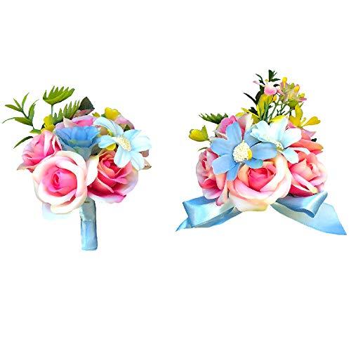 - Abbie Home Wedding Wrist Corsage Brooch Boutonniere Set Party Prom Hand Flower Décor-Pink&Blue