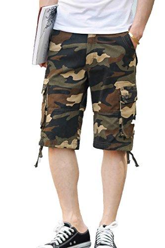 (CANASOUR Men Khaki Camouflage Multi Pockets Jogger Capri Cargo Shorts (US Size 32, Khaki Camouflage))