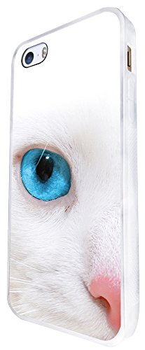 1538 - Cool Fun Trendy Cute Pet Animal White Kitten Feline Kawaii Design iphone SE - 2016 Coque Fashion Trend Case Coque Protection Cover plastique et métal - Blanc